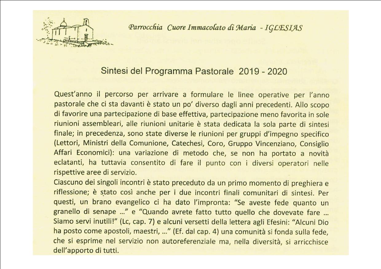 Programma pastorale della parrocchia – anno 2019/2020